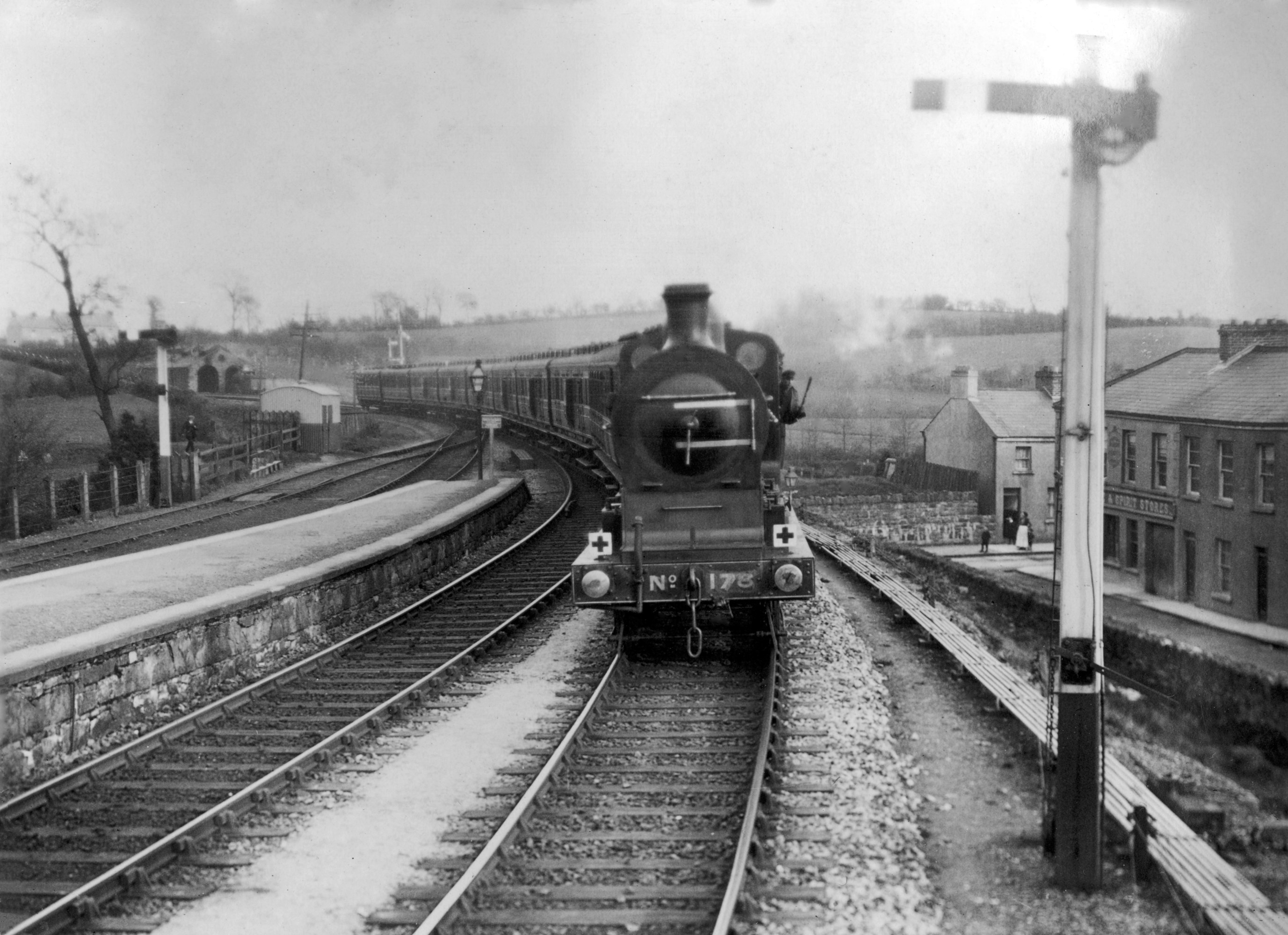 Great War Ambulance Train No 13 approaches Omagh on 1st May 1915 - photo by Norman Holland